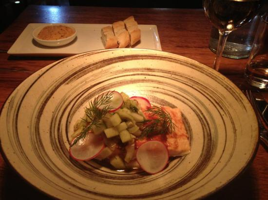 Salmon with Pureed Celeriac and a Fennel and Apple Salad