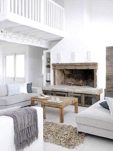 White Livingroom Fireplace