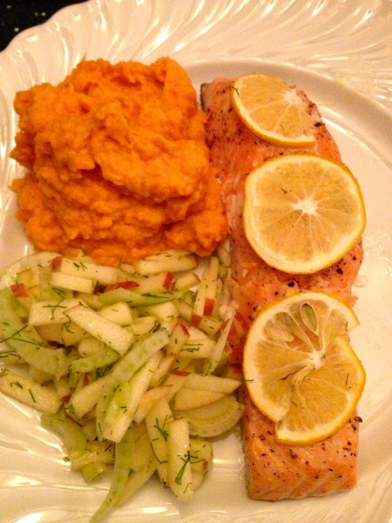 Salmon, Apple and Fennel Slaw, and Mashed Sweet Potatoes