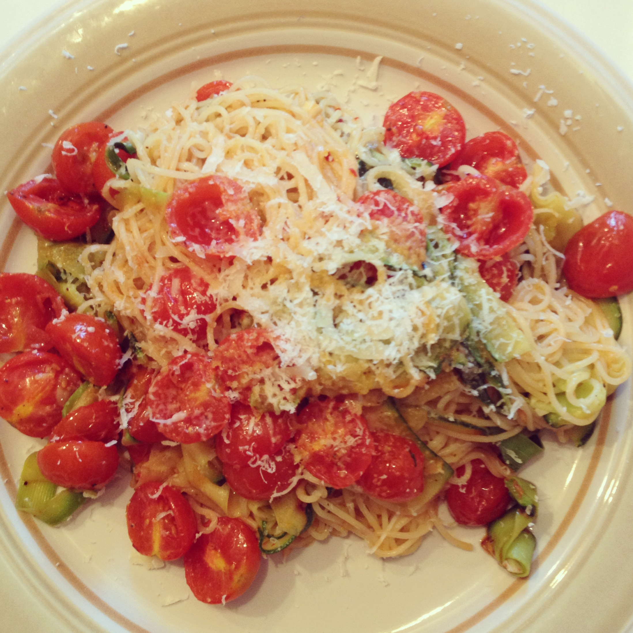 Summer Pasta with Zucchini Ribbons and Cherry Tomatoes ...